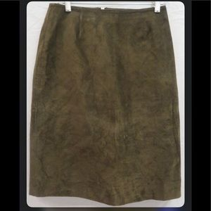 Banana Republic Genuine Leather Brown A-Line Skirt